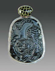 SALE- NWT Amy Kahn Russell Animal Print Enamel Hand Carved Onyx S/S Pin/Pendant
