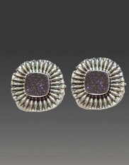 SALE - Amy Kahn Russell Druzy Embellished Sterling Clip/Post Earrings