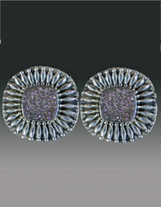 Amy Kahn Russell Druzy Embellished Sterling Clip/Post Earrings