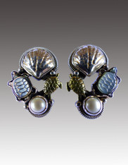 SALE - NWT Amy Kahn Russell Shell MOP Turtle Pearl Sterling Clip/Post Earrings