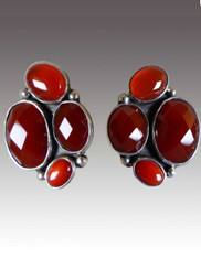 Amy Kahn Russell Red Jasper Carnelian Sterling Clip/Post Earrings