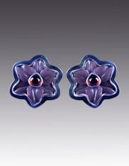 Amy Kahn Russell Amethyst Garnet Sterling Pansy Clip/Post Earrings SOLD
