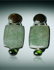Echo of the Dreamer Jade, Tourmaline, Fire Agate Clip Earrings