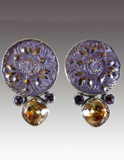 Echo of the Dreamer Antique Gold Studded Button, Citrine. Garnet Sterling Clip Earrings