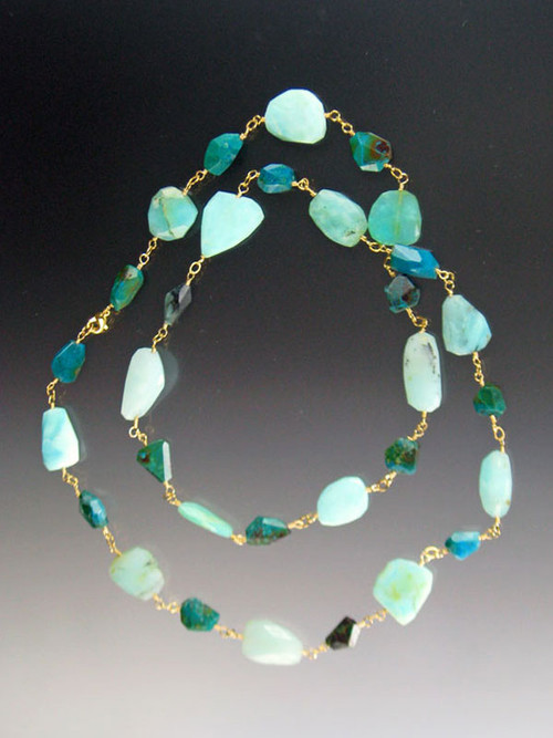This rope features chrysocolla, peruvian opal, and hemimorphite for an elegant effect.