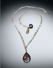 Black Gold Bezeled White CZ with Lilac Amethyst Pear Pendant On Silver Chain