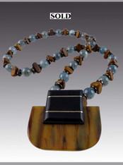 Art Deco vintage Buckle on Kyanite Wood Chain