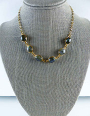 Vermeil Bezel Set Labradorite Beads on a 24K Plated Gold Chain