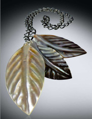 Hand Carved Mother of Pearl Leaves on a Gunmetal Chain