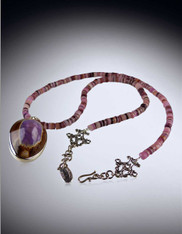 Purple and Brown Cowrie Shell Sterling Pendant on Charoite Chain