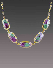 Ruby Zoisite set in Rose Gold plated Copper White CZ Frame
