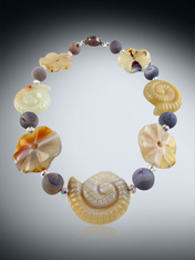 Agate Flowers and Sea Creatures, Druzy and Swarovski Rondel Collar