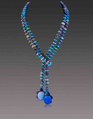 Turquoise Rondel Lariat with Turtle Dangles