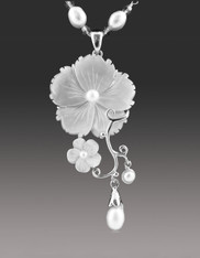 Mother of Pearl Sterling Flower Pendant on Wire Wrapped Pearl Chain