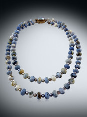 Double Strand Denim Blue Owyhee opal with Vintage Mabe Pearl Clasp
