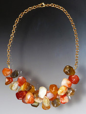 Just for you - a cluster of falls hottest colors -- orange, persimmon and olive agate and carnelian!