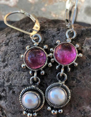 ECHO OF THE DREAMER TOURMALINE PEARL POST EARRINGS