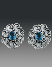 Echo of the Dreamer Blue Topaz Filigree Silver Clip Earrings