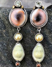 SALE - Echo of the Dreamer Cowry Limpet Shell  Lemon Topaz Pearl  Post Dangle Earring