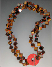 Tiger Eye Red Silk Hand-Knotted Cinnabar Sterling Toggle Necklace SOLD