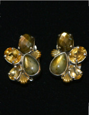 Amy Kahn Russell Labradorite Citrine Cluster S/S Clip/Post Earrings