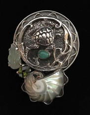 Amy Kahn Russell Chrysophrase Nautilus Shell Silver Turtle Pin/Pendant