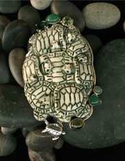 Amy Kahn Russell Chrysophrase Peridot Turtle Cluster Sterling Pin/Pendant