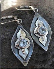 Echo of the Dreamer Sterling Marquis White Topaz Lever Back Earrings