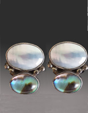 Amy Kahn Russell Pearl Abalone Sterling Clip/Post Earrings