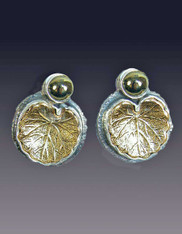 Amy Kahn Russell Chalco Pyrite 24K over Silver Lily Pad Leaf Clip/Post Earrings