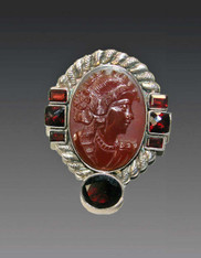Amy Kahn Russell Hand-Carved Carnelian Cameo Garnet S/S Pin/Pendant