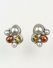 Echo of the Dreamer Pearl Citrine Sterling Cluster Post Earrings