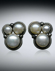Amy Kahn Russell Triple rade AAA Pearl Sterling Clip/Post Earrings