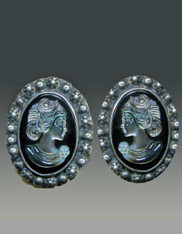 Amy Kahn Russell  HandCarved Mother-of-Pearl Cameo Clip/Post Earrings