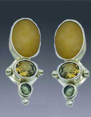 Echo  of the Dreamer Jasper Whiskey Citrine, Peridot Sterling Clip Earrings