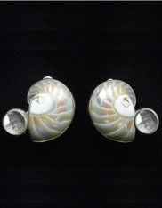 Amy Kahn Russell Nautical Shell White Topaz Sterling Clip/Post Earrings