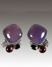 Amy Kahn Russell Amethyst Garnet Sterling Clip/Post Earrings