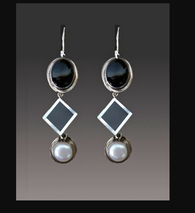 Amy Kahn Russell Geometric Onyx, Mother of Pearl, Pearl,  Sterling Dangle Earrings