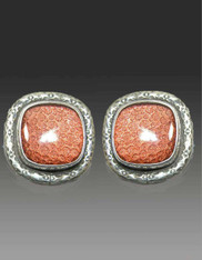 Amy Kahn Russell Rose Gold Foil Under Quartz Sterling Clip/Post Earrings