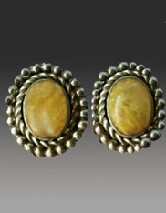 Amy Kahn Russell Rutilated Quartz Sterling Clip/Post Earrings