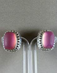 Amy Kahn Russell Frosted Rose Quartz Sterling Clip/Post Earrings