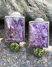 Echo of the Dreamer Sugilite Peridot Sterling Clip Earrings