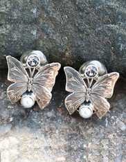 Echo of the Dreamer Sterling Butterfly pearl and Topaz Clip Earrings