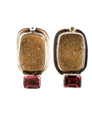 Echo of the Dreamer Brazilian Druzy Faceted Garnet Sterling Clip Earrings