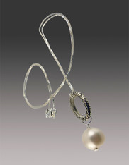 South Sea Pearl on Oval Silver Ring and Sterling Chain