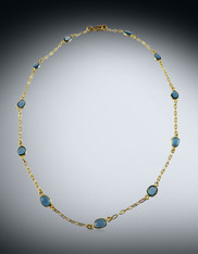 Vermeil Bezeled Labradorite Faceted Coin Chain Collar