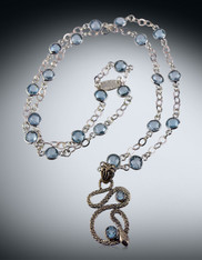 Sterling Blue Topaz Serpent on Blue Topaz Bezel Set Sterling Chain