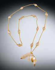 Bezel Set Rainbow Moonstone Chain with Moonstone Venetian Dangles