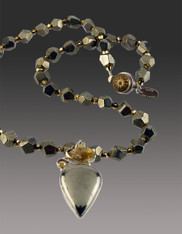 Pyrite Citrine Pendant on Faceted Pyrite chain