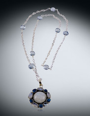 Rainbow Moonstone Blue Fluorite on Mystic Quartz Silver Chain